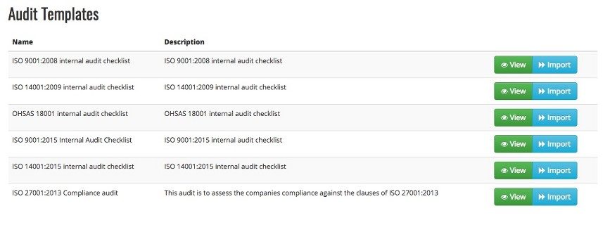 "My Compliance - ""Audit Templates"" Screen Shot"