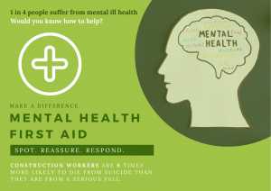 Mental illness is a big problem for the construction industry and mental health first aid courses can help improve mental health in the construction sector